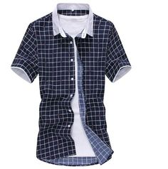 Summer Grid Shirt. Material: Cotton, Polyester. Collar: Square Collar. $23.99 unique-outfit.com