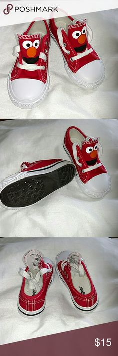 Elmo sneakers These are adorable! Elmo face on the shoe tongue. These have been worn once, for a Sesame Street birthday party. Still in New condition! Kidgets brand, toddler size 8. Shoes Sneakers
