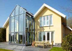 "Find out more details on ""greenhouse architecture design"". Take a look at ou… Find out more details on ""greenhouse. House Extension Design, Glass Extension, Extension Designs, Roof Extension, Extension Ideas, House Roof, Facade House, Farm House, Architecture Design"