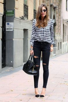 plaid shirt + black jeans + black shoes
