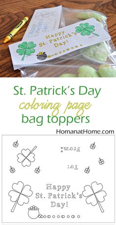 St. Patrick's Day coloring page bag toppers are a great activity for schools or church groups!
