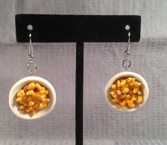 Mac And Cheese Earrings - Food Jewelry. Polymer clay by ArtfulSunshine on Etsy https://www.etsy.com/listing/184427036/mac-and-cheese-earrings-food-jewelry