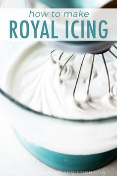 This is, hands down, my favorite royal icing. It's easy to make with meringue powder, dries quickly, and fun to decorate sugar cookies! Flooding Icing Recipe, Royal Icing Recipe Without Meringue Powder, Royal Icing Recipe With Egg Whites, Royal Icing Cookies Recipe, Royal Icing Recipes, Powdered Sugar Icing, Royal Icing Sugar, Sugar Cookie Icing, Best Sugar Cookies