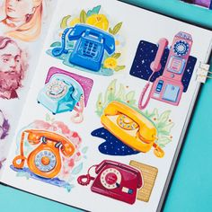 A page of colorful rotary phones ☎ Done in gouache and watercolors on Mixed Media sketchbook. Illustration Inspiration, Sketchbook Inspiration, Illustration Art, Pen Art, Marker Art, Posca Art, Arte Sketchbook, Sketchbook Pages, Sketchbook Ideas