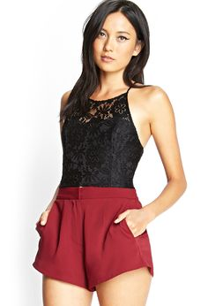 lace halter crop top & solid color highwaisted shorts | nightout
