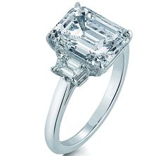 Engagement Ring - Emerald Cut Diamond Trapezoids Engagement Ring 0.5 tcw in 14K White Gold - ES706ECWG050