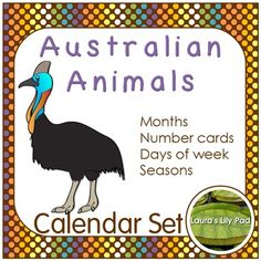 This Australian Animal themed set includes the months of the year, three sets of calendar cards with different patterns, days of the week in both card sized format and large format, as well as seasons of the year. These all have a brown background with different colored dots.