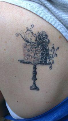 Cake tattoo done on left shoulder blade on 12.09.15