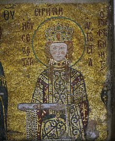 Empress Irene, holding the deed for the church's endowment, from the votive mosaic in the south gallery of Hagia Sophia. Detail of 15-03-09/13. Full mosaic shows the Madonna flanked by Emperor John II.Komnenos and his wife Irene.