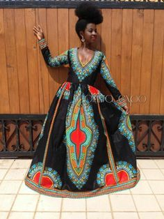 Dashiki gown/ dashiki dress/ african prom dress/ ankara dress/ african dress/ african styles/ african fashion by adinkraexpo on etsy African Attire, African Wear, African Women, African Dress, African Style, Dashiki Dress, Ankara Dress, Kaftan, African Prom Dresses