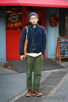 Korean street fashion with american workwear #OOTD