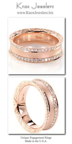 This glamorous concave diamond wedding band is featured in a lovely 14k rose gold metal. Curved edges are decorated with hand engraved scroll-work for a picturesque view. Two rows of bead set diamonds line the top of the ring for brilliance. The sandblasted finish adds a chic texture along the center of the design.