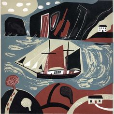 Melvyn Evans - Against the Tide, Limited Edition Linocut Print Eva Kingston. Melvyn Evans - Against the Tide, Limited Edition Linocut Print Illustrations, Illustration Art, Linocut Prints, Art Prints, Block Prints, Brown Art, Textiles, Japanese Artists, New Print