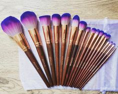The Fairytale Collection, for Princesses only ✨ Thank you @oh.my.cobb for this cute pic of our purple ombre and rose gold makeup brushes with wooden handles ✨ www.girlswithattitude.co.uk ✨ #GWALondon Makeup Supplies, Makeup Tools, Makeup Products, Makeup Ideas, Cute Makeup, Gold Makeup, Workout Hairstyles, Brush Sets, Purple Ombre