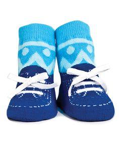 Look what I found on #zulily! Blue Zigzag Socks by Trumpette #zulilyfinds