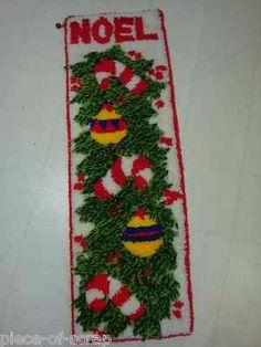 "CHRISTMAS XMAS Completed Latch Hook Kit 47"" Rug Wall Hanging Decor UGLY TACKY #uglysweater #ugly #christmas #vintage"