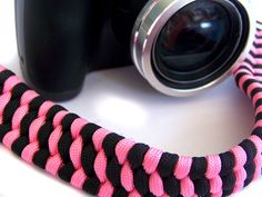 Paracord Camera Strap, Pink & Black Fancy