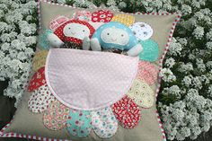 Petal Pocket Pillow (w/ Mushroom Softies by Kerri)... Must make this cute pillow and some softies to tuck into the pocket for Amelia