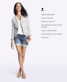 Blazer, denim roll up shorts