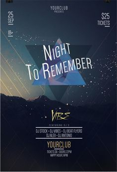 Freebie: Night to Remember Party Free Flyer Template for Photoshop Free Psd Flyer Templates, Flyer Free, Music Party, Party Flyer, Night Club, Flyer Design, Dj Edm, Photoshop