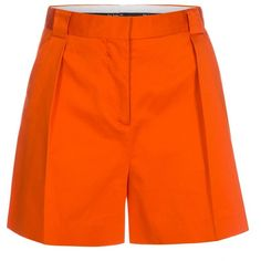 Paul Smith Women's Orange Stretch-Cotton Pleated Shorts ($240) ❤ liked on Polyvore featuring shorts, stretchy shorts, cotton stretch shorts, zipper shorts, orange shorts and stretch shorts