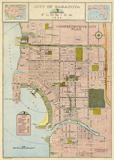 Map Of Florida Cities, Florida City, Sarasota Florida, Mount Washington Summit, Map Wall Art, Vacation Spots, Vintage World Maps, Restoration, How To Plan