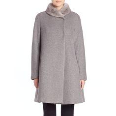 Max Mara Studio Ricetta Fur-Trimmed Coat (100.385 RUB) ❤ liked on Polyvore featuring outerwear, coats, apparel & accessories, light grey, fur coat, a-line coat, maxmara, fur-trimmed coat and long sleeve coat