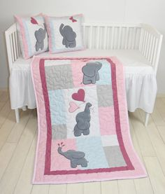 Pink Baby Quilt,  Elephant Blanket, Pink Gray Blue Crib Bedding, Safari Nursery by Customquiltsbyeva on Etsy