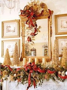 Christmas mantel decorations in gold and red