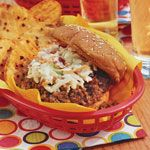 Slow-cooker Sloppy Joes Recipe | MyRecipes.com.  Mod: no water, cooked on high for 1 hour then kept on warm. Served with toasted ciabatta bread.