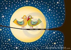 (C) Celia Ascenso - Birds Moon And Stars Greeting Card.