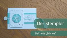 "Ziehkarte ""Schnee"" | Der Stempler ~ Stampin Up! Card Tutorials, Tricks, Stampin Up, Inspiration, Cover, Advent, Books, Cards, Youtube"