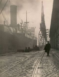 "Set photo: ""Le Havre, le quai"" designed by Alexandre Trauner for 'Le quai des brumes' (Port of Shadows), 1938 (directed by Marcel Carné)"