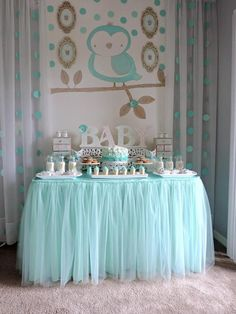 "Turquoise Owl ""Welcome Home Baby"" Party via Kara's Party Ideas…"