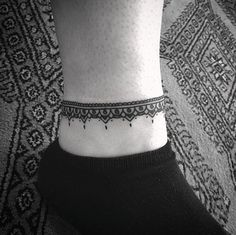 Ornamental anklet tattoo by Barb Rebelo