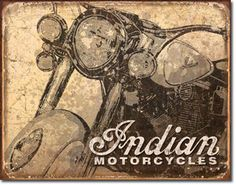 Indian Motorcycles Antiqued 16 x 12 Nostalgic Metal Sign | Man Cave Kingdom