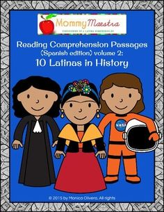 This reading comprehension packet can be used for Women's History Month, Hispanic Heritage Month, or any time of the year. It comes with one-page reading passages about the following 10 famous Latinas:Ellen OchoaIsabel AllendeDara TorresFrida KahloLinda RonstadtDolores HuertaSonia SotomayorCarolina HerreraRita MorenoSor Juana de la CruzI've also included reading comprehension worksheets that focus on facts and vocabulary from the passages, a matching activity, dictionary reference, and…