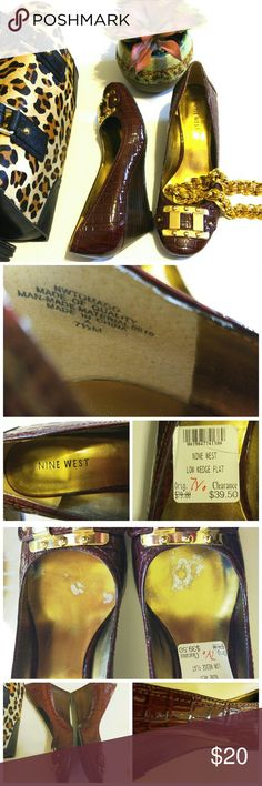 """Nine West Burgundy Shiny Faux Croc Wedge *These wedges by Nine West are cute and sophisticated!  They are a shiny burgundy, with a faux crocodile design.  They have gold hardware, and an approx 2 1/4"""" wedge heel.  Some of the color has rubbed off in the footbed (see pic).  There are normal signs of wear.  Overall they are in good condition.  They would be perfect for work or church.  I love this rich color!* Nine West Shoes Wedges"""