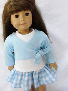 blue wrap over white top with attached ruffled blue gingham or plaid Ag Doll Clothes, Doll Clothes Patterns, Doll Patterns, Clothing Patterns, Our Generation Dolls, Girl Dolls, Ag Dolls, American Girl Clothes, Girl Outfits