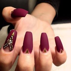 Popular Nail Colors Maroon Color Nagellack Best Of 35 Maroon Nails Designs Nenuno Creative Hair Loss Matte Maroon Nails, Matte Nail Polish, Gel Nails, Matte Gold, Coffin Nails, Acrylic Nails, Red Gold, Glitter Nails, Matte Black