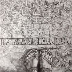 Without the border. @lilacb #beautiful #feet on a beautiful #floor in #Gotland #sweden  The third piece in the #artbeneathourfeet #project  #artgallery #gallery #kunst #letters #alphabet #fineartist #fineart #decor #home #interiors #pencil #pencildrawing #drawing #selfeet #ihavethisthingwithfloors #fromwhereistand