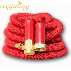 2017 New European And American Version Telescoping Aluminum Pressure Red Garden Water Hose With Brass Connector And Spray Nozzle