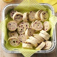Black Forest Ham Roll-Ups Recipe -We love to entertain at home and the office. Ham and cheese rolled in tortillas make a quick and easy appetizer that transports beautifully. —Susan Zugehoer, Hebron, Kentucky
