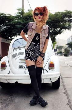 Black thigh high #socks and white VW #beetle