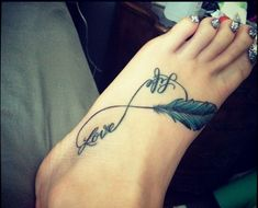 Love Life Nice Infinity Tattoo Design With Feather Make On Foot