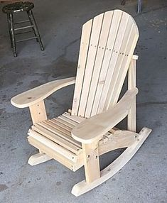These Adirondack chair plans will help you build an outdoor furniture set that becomes the centerpiece of your backyard . It's a good thing that so many plastic patio chairs are designed to stack, and the aluminum ones fold up flat. This project is the la Adirondack Rocking Chair, Rocking Chair Plans, Adirondack Chair Plans, Outdoor Furniture Plans, Outdoor Rocking Chairs, Woodworking Furniture Plans, Pallet Furniture, Rustic Furniture, Antique Furniture