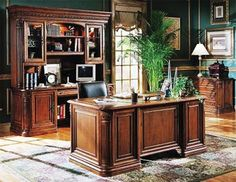 Photo of Hooker Furniture Villa Florence Wood Top Executive Desk Set in Relaxed Cherry (Office Furniture, Office Suites) Home Study Design, Simple House Design, Home Office Design, Wood Office Desk, Home Office Chairs, Home Office Furniture, Office Table, Business Furniture, Hooker Furniture