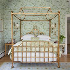 Bedroom Decorating Ideas: Pillow Talk - Traditional Home®  Gold pagoda canopy bed by Annie Selke for Vanguard Furniture (discontinued)