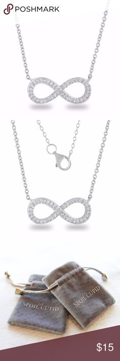 """Sterling Silver Classic Infinity Necklace ♥ Item Dimension in Inches (L x W x H) : 18"""" x 0.80"""" x 0.33"""" ♥ Beautiful full-set brilliant cz stones infinity chain necklace. ♥ 16+2 Inch(45cm), Plain Silver, Draw-Flat-Cable Chain with Lobster-Claw Clasp.  ♥ Stamped 925; Nickel and Lead free; Hypoallergenic Guaranteed.  ♥ Package includes a soft velvet drawstring pouch for gift giving or easy storage.  ♥ Sterling silver is very soft and fine metal. Avoid any pulling/bending when wearing. Spoil…"""