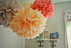 girl nursery/ diy/ poms/ nursery poms/ coral